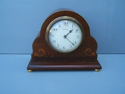 "Mantel clock Mahogany vintage French inlaid 6.5"" H brass ball feet working  M4"