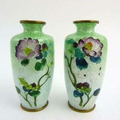 Pair Japanese Ginbari Cloisonne Bottle Vases Decorated With Flowers Meiji Period