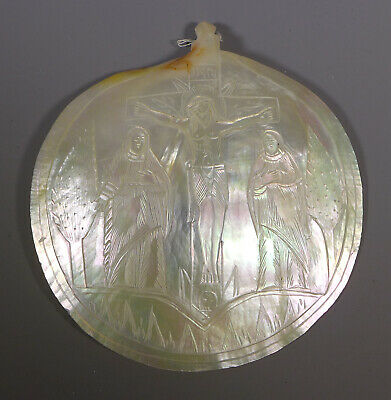 Fine Antique Carved Mother Of Pearl Mop Shell Icon Crucifixion Bethlehem