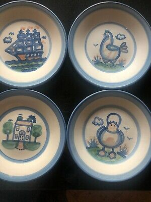Lot Of 4 M A HADLEY Plates - Ship House Chicken Duck- 9 Inch Euc