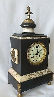 Antique Empire Clock French Bell Signed Movement 19c Marble Case Detail Dial