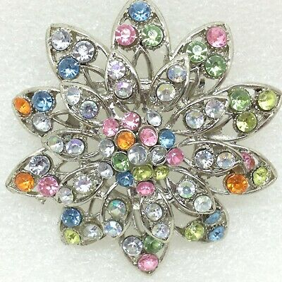 Vintage FLOWER BROOCH Pin Pastel Color Rhinestone Silver Tone Costume Jewelry