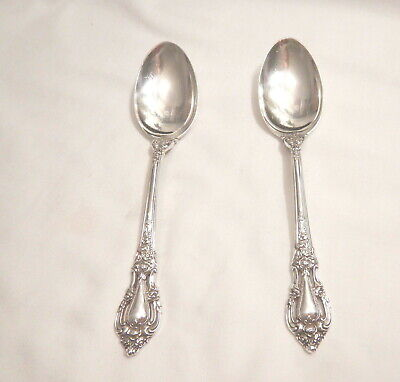 2 Eloquence Sterling Silver Teaspoons-So Ornate 1953 Lunt Finest