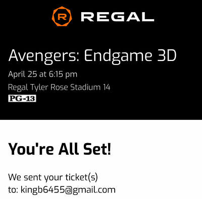 Avengers Endgame Movie Tickets 3D PA April 25th 2 tickets sold out show