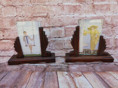 Lovely Pair Of Vintage Art Deco Oak & Glass Freestanding Picture/photo Frames