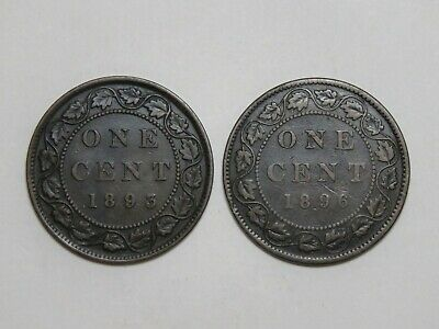 Lot of 2 - Canada Large Cent - 1893 & 1896