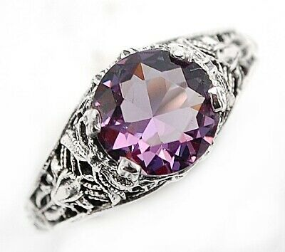 2CT Amethyst 925 Solid Sterling Silver Vintage Style Ring Jewelry Sz 8