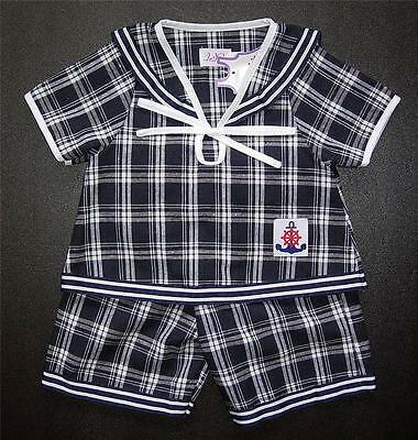 BABY BOY OUTFIT Very Dark Blue & White Check Suit Casual Clothing Cotton Pyjama