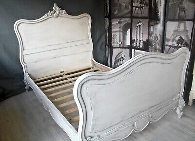painted french double bed shabby chic chateau rococo off white grey antique
