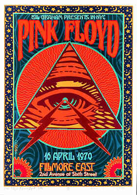 Pink Floyd Poster Historic Fillmore East Honorific New SN Hand-Signed David Byrd