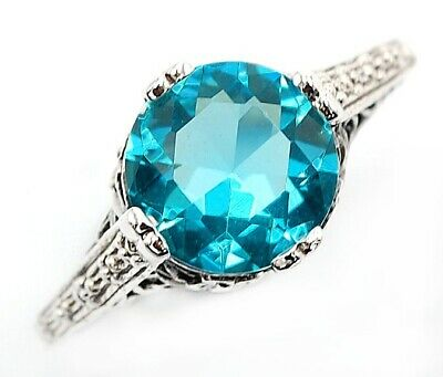 2CT Aquamarine 925 Solid Sterling Silver Art Nouveau Ring Jewelry Sz 8