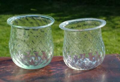 2 x GLASS EARLY VICTORIAN HAND BLOWN CHRISTMAS TREE FAIRY LIGHTS PONTIL - LOT 1