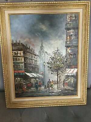 VINTAGE ORIGINAL OIL Painting - Signed S  Burnett - Framed - Paris