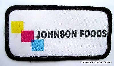 """JOHNSON FOODS SEW ON PATCH BEVERAGE ADVERTISING 4"""" x 2"""""""