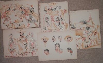 GROUP OLD ANTIQUE Listed Artist Fine Art Drawings / Paintings original artwork