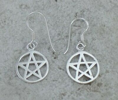 UNIQUE GOTHIC STERLING SILVER WICCA PENTACLE EARRINGS style# e1139