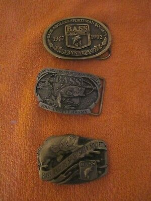 3 BASS ANGLERS SPORTSMAN SOCIETY Belt Buckles: 25th & 30th Anniversary + Plain 1