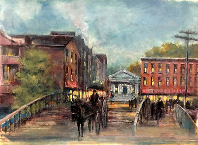 Historical Syracuse NY Erie Canal 19x26 in.Acrylic on panel Hall Groat Sr.