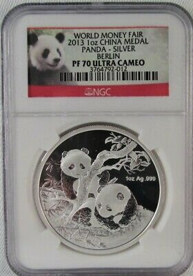 2013 China Panda Silver Medal Berline Money Fair NGC PF70 Ultra Cameo Coin AH438