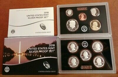 2018 US Mint Silver Proof Set w/ Box and COA - 10 Coin Set