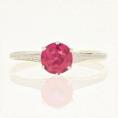 Art Deco Synthetic Ruby Ring - 14k Yellow Gold Vintage Engagement 1.00ct