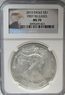 2013-P Silver Eagle NGC MS70 First Releases Coin AH448