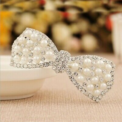 Fashion Crystal Pearl Bow Hair Hairpin Holder Bobby Pin Barrette Jewellery bw