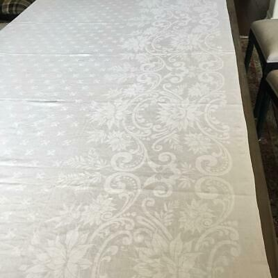 Tablecloth 78 x 73 WHITE rectangle DAMASK Fleur di Lis center and scrolly floral