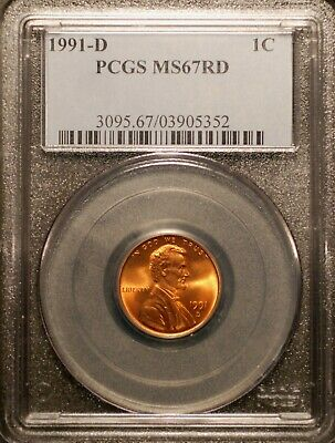 1991-D  Lincoln Cent PCGS MS67 Red #5352 Free Shipping!