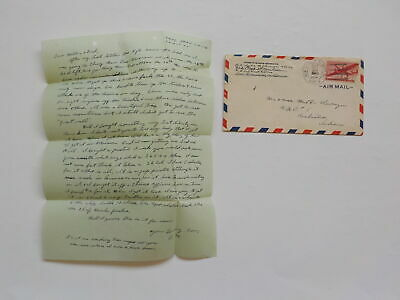 WWII Letter 1945 Bandits Attack Train French Pistol Tang Shan China Marine WW2