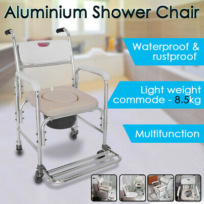 3 In 1 Aluminum Shower Toilet Commode Chair Wheelchair Bathroom Bedside Footrest