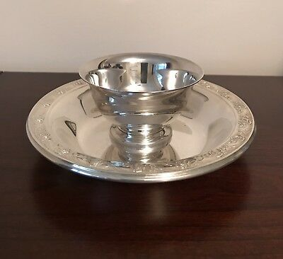 Reed & Barton Silver Plated Custard Dish And Saucer Paul Revere & Classic Rose