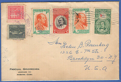 V779 -  CARIBE 1955 cover, Chess + Bandera stamps to USA