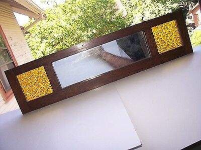 MISSION OAK Frame Vintage STAINED GLASS MIRROR Quarter Sawn Wood Arts and Crafts
