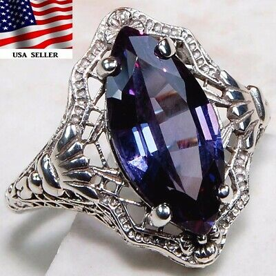 3CT Color Changing Alexandrite 925 Sterling Silver Art Deco Ring Jewelry Sz 6