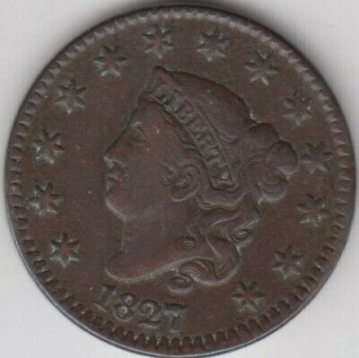 Coin 1827 USA Barber 1 cent in very fine condition