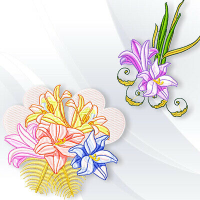 LILLIES  10 MACHINE EMBROIDERY DESIGNS CD or USB