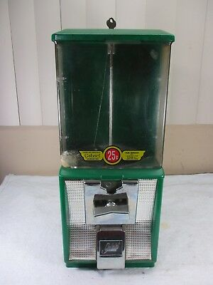 Vintage Gabriel 25 Cent Coin Operated Candy Gumball Nut Vending Machine w/ Key
