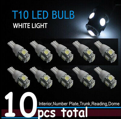 10X T10 5050 W5W 501 5 SMD LED Bulbs Car Interior Lights Side Lamp Wedge Capless