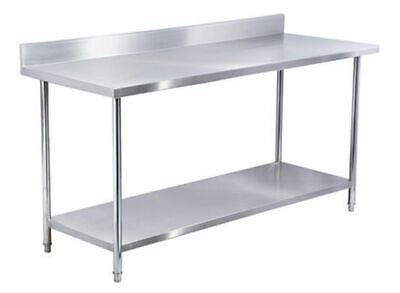430 STAINLESS STEEL BENCH w SHELF + SPLASHBACK 1800X800MM tough commercial table