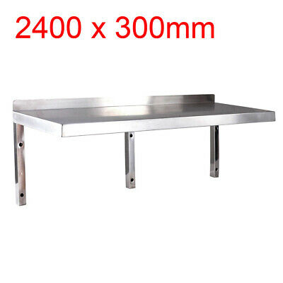 BRAND NEW 2400mm x 300mm STAINLESS STEEL WALL SHELF, shelving, display unit