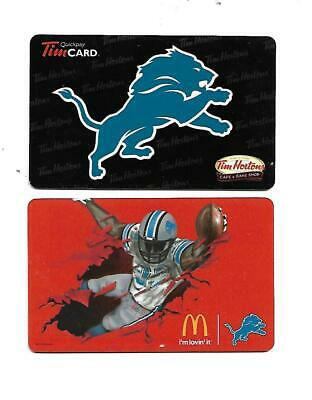 2 Detroit Lions Collectible Gift Cards  NCV   McDonald's & Tim Hortons