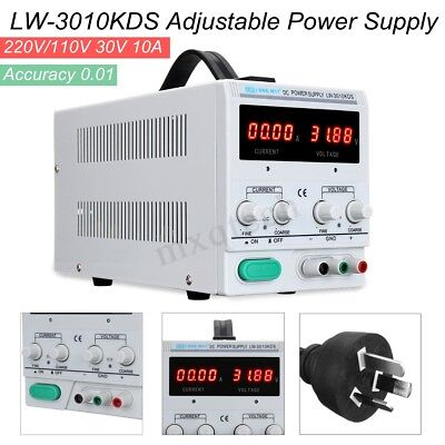 30V 10A Adjustable DC Power Supply Precision Variable Digital Lab Test + Cable