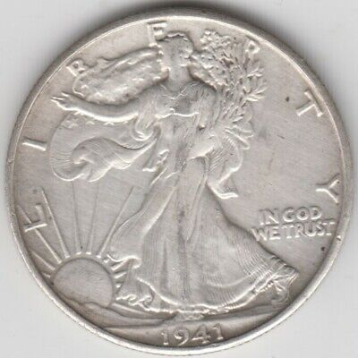 Coin 1941s USA Eagle silver half dollar in almost extremely fine condition