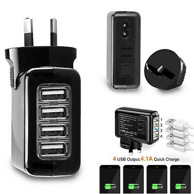 AU Plug 4 Ports USB 4.1A AC High Power Travel Home Wall Charger Charging Adapter