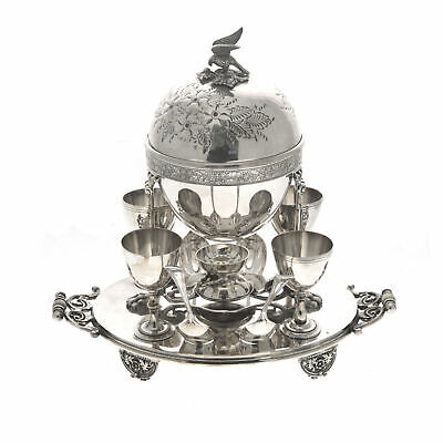 Silver Plated Egg Boiler Coddler with Four Egg Cups & Spoons England Circa 1900
