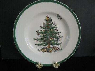"""SPODE Christmas Tree 10 1/2"""" Dinner Plate ~ Made in England ~ MINT NEVER USED"""