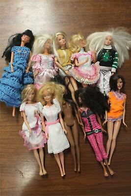 Mixed Lot of 10 Mattel Barbie Dolls Clothes Vintage & Modern For Play or Parts B