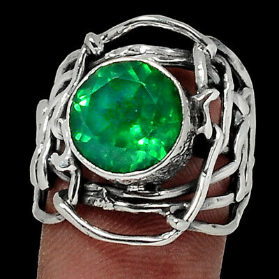Gemstone Good Emerald Natural Crystal Quartz Doublet 925 Silver Ring Jewelry S.7 Ar46481 96l