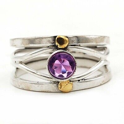 Two Tone- Natural Amethyst 925 Solid Sterling Silver Ring Jewelry Sz 8